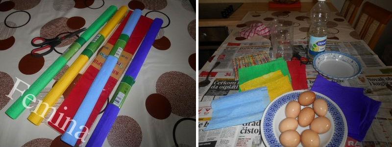 Farbanje uskršnjih jaja krep-papirom