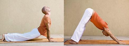 "Peti ""tibetanac""  ProČiŠĆava um i popravlja raspoloženje. Lezite na stomak, dlanove oslonite na pod pored ramena i rukama pridignite gornji deo tela. Ruke i noge su razmaknute oko 60 cm jedna od druge. Prednjim delom stopala se oslanjate na tlo, a glavu zabacite unazad ka leđima. Udahnite kroz nos i podignite zadnjicu, a glavu istovremeno savijajte dok ne dodirne grudi. Treba da telom formirate oblik trougla. Izdahnite kroz nos ili usta dok se vraćate u početni položaj. Tokom vežbe celo telo je, osim dlanova i nožnih prstiju, iznad tla."