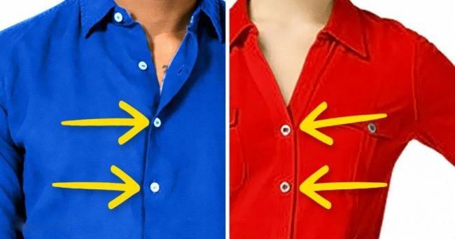 Evo, zašto su dugmići na muškim i ženskim košuljama na različitim stranama.