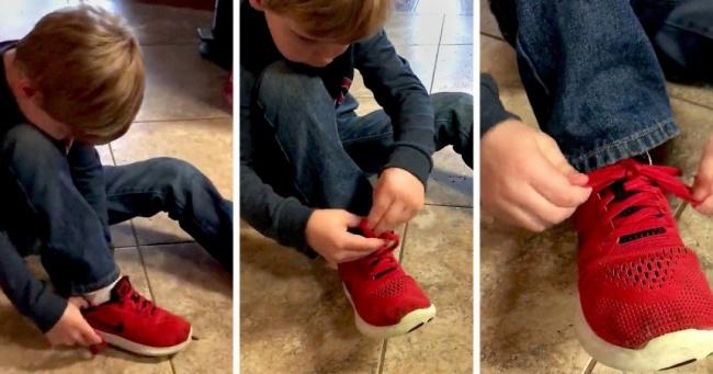 Ovaj 5-godišnji dečak naućiće bilo koga da savršeno veže pertle.
