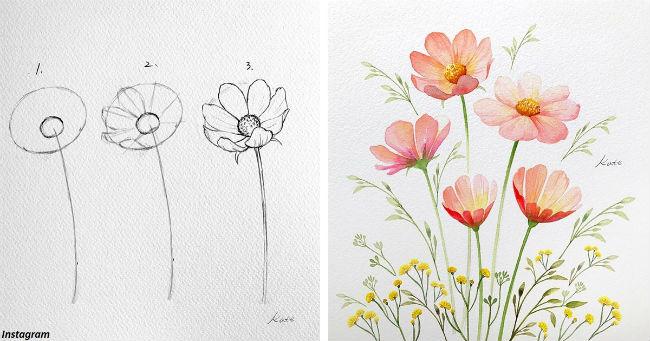 Korejska slikarka pokazuje kako nacrtati savršene cvetove u tri laka koraka